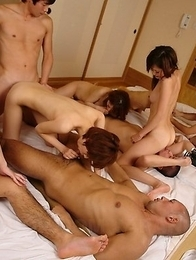 Hot orgy in the hotel room for cam