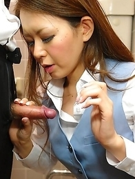 Hot China Mimura sucks a big dick
