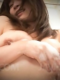 Nozomi Hatsuki Asian spoils her big boobs and crack with soap