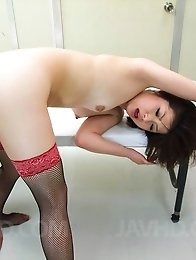 Kaoru Natsuki Asian with specs has twat licked and licks joystick