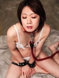 Rio Kagawa Asian in leash sucks boners and gets cum in her mouth