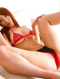 Rika Hoshimi Asian with sexy legs up shows peach in red thong