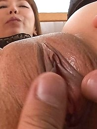 Minami Kitagawa Asian gets finger in shaved pussy and rides tool